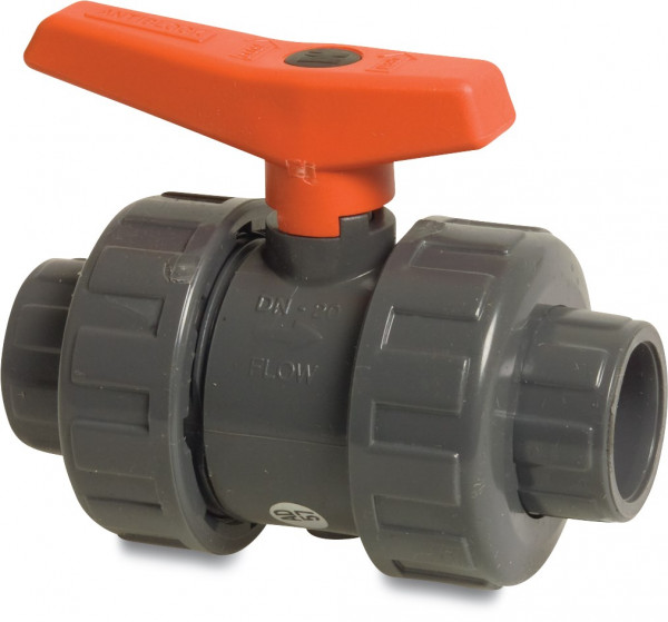 Mega Ball valve with double union, type 2000 Teflon