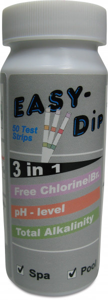 Pool-I.D. 3-in-1 test strips for the measurement of pH, Active Oxygen (O2 / MPS)- and Alkalinity values